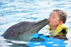 Pojke som kysser delfin i pöl arkivbild