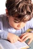 Pojke som läser bibeln royaltyfri bild