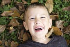 Pojke som ligger på skratta för gräs royaltyfri fotografi