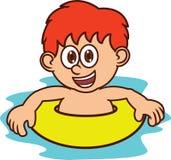 Pojke som lär att simma tecknad filmteckenet Royaltyfria Bilder