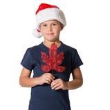 Pojke som poserar med garnering för julgran Royaltyfri Bild