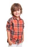 Pojke som poserar över vit Royaltyfria Foton
