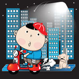 Pojke som rider en motorcykel i staden på en natt Royaltyfria Bilder