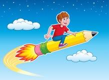 Pojke som rider Rocket Pencil Royaltyfria Bilder