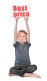Pojke som rymmer den bästa prisinskriften fotografering för bildbyråer