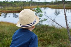 Pojke som ser framåtriktat på horisont arkivbild