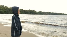 Pojke som ser havet, bakre sikt stock video