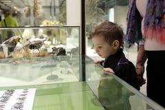 Pojke som ser skalbaggar Fotografering för Bildbyråer