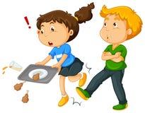 Pojke som sparkar benet för flicka` s royaltyfri illustrationer