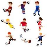 Pojke som spelar fotboll Fotografering för Bildbyråer