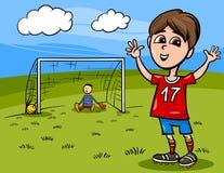 Pojke som spelar fotbolltecknad filmillustrationen Royaltyfri Bild