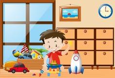 Pojke som spelar leksaker i rum royaltyfri illustrationer