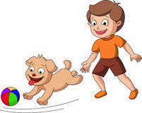 Pojke som spelar med en hund Royaltyfria Bilder