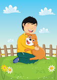 Pojke som spelar med hundvektorillustrationen Royaltyfria Bilder