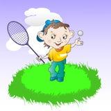 Pojke som spelar tennis royaltyfri illustrationer