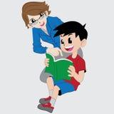 Pojke som studerar med mamman Royaltyfri Bild