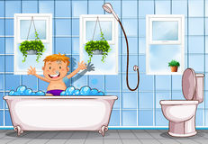 Pojke som tar ett bad i badrum stock illustrationer