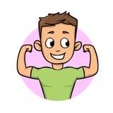 Pojke som visar upp hans muskler Symbol för konditionlägenhetdesign Plan vektorillustration bakgrund isolerad white vektor illustrationer