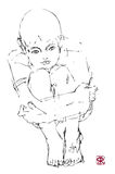 pojke tecknat tänka för hand Royaltyfria Bilder