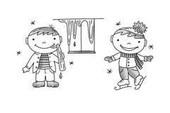 Pojkeaning åka skridskor för istapp och för pojke stock illustrationer