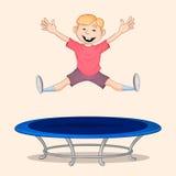 Pojkebanhoppning på trampolinen Royaltyfria Foton