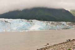 pojkecloseupglaciären observerar Arkivfoto