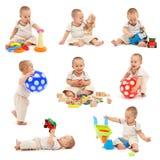 pojkecollage little som leker Fotografering för Bildbyråer