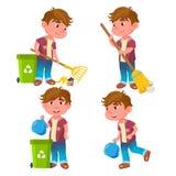 Pojkedagisungen poserar den fastställda vektorn Emotionellt tecken Hjälpa på trädgården cleaning Avskrädesamling stock illustrationer
