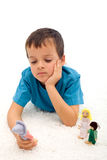 pojkefamilj hans SAD avskilda tänka Fotografering för Bildbyråer
