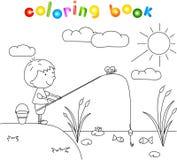 Pojkefiskare med metspöet på sjön för färgläggningdiagram för bok färgrik illustration Arkivfoto