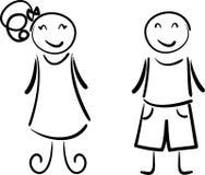 pojkeflicka stock illustrationer