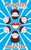 Pojkeflicka att komma med skratt bästa medicin vertikal affisch royaltyfri illustrationer