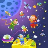 Pojkeflickaastronaut i utrymmeplatser royaltyfri illustrationer