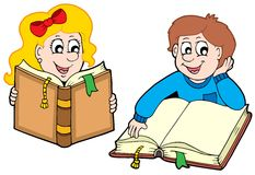 pojkeflickaavläsning royaltyfri illustrationer