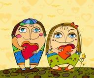 pojkeflickahjärta vektor illustrationer