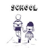 pojkeflickan går skolan till Vektor Illustrationer
