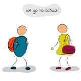 pojkeflickan går skolan till Stock Illustrationer