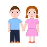 pojkeflickan hands holdingen Royaltyfri Illustrationer