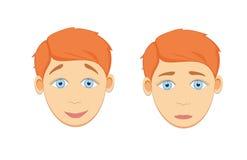 Pojkeframsida Emotionell framsida för plan illustration Arkivbild