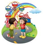 Pojkehandshaking framme av karnevalet royaltyfri illustrationer