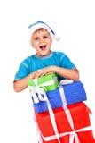 pojkehatt som skrattar little s santa Arkivfoton