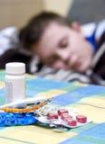 pojkeinfluensa royaltyfria bilder