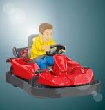 Pojkekörning går kart Fotografering för Bildbyråer