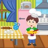 Pojkekock som förbereder lunch vektor illustrationer