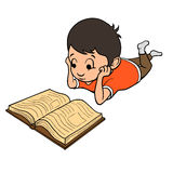 Pojkeläsning en boka också vektor för coreldrawillustration Fotografering för Bildbyråer