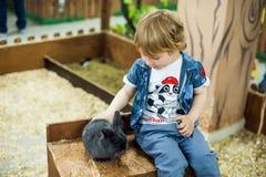 Pojkelek med kaninerna Arkivbilder