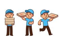pojkeleveransen tycker om din lunchpizza Royaltyfria Foton