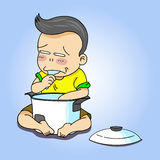 Pojken äter ris royaltyfri illustrationer