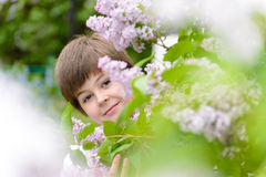 Pojken 10 år near blommande lilor Arkivfoton