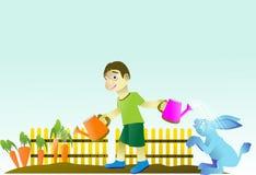 pojken arbeta i trädgården bevattna moroten, medan spela med en kanin Arkivfoto